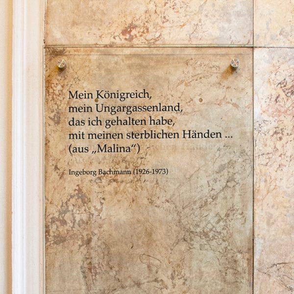 Gedenktafel Ingeborg Bachmann, Ungargasse 6